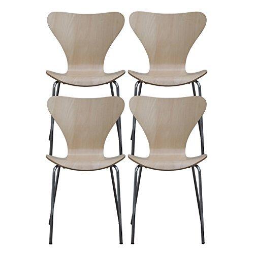 【4個セット】 ottostyle.jp 北欧家具の代名詞! セブンチェア デザイナーズ アルネ・ヤコブセンデザイン (ナチュラル)