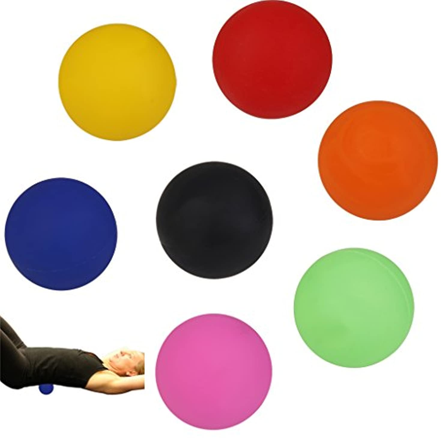 ズームインする下に個人的に2個 手のひら 足 腕 首 背中 足首 ジム ホーム 運動 マッサージボール ラクロスマッサージボール 黒色