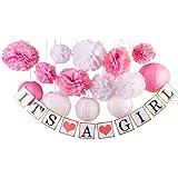 ベビーガール ベビーシャワーデコレーション 女の子のバナー ペーパーランタン ペーパーフラワー ポンポン ピンク ホワイト