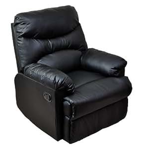 1人掛け リクライニングレザーソファ ブラック(黒) ホームシアターに最適
