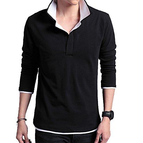 (エフバイフォー) F×4 メンズ 長袖 レイヤード 風 ゴルフ ポロ シャツ FMT012 (ブラック×ホワイト L)