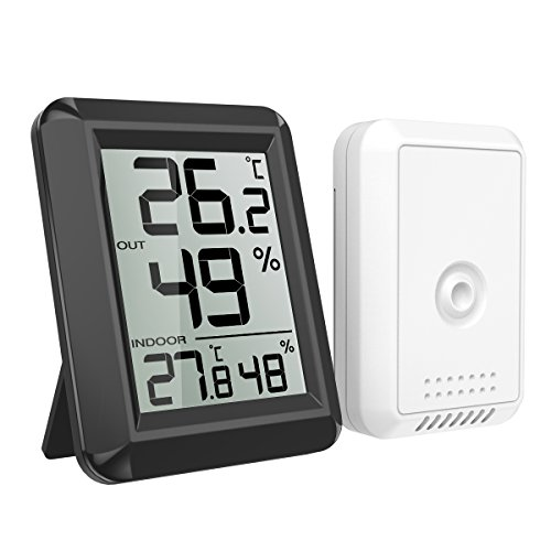 AMIR デジタル湿温度計 室内 室外 温度計 湿度計 高精度 華氏温度表示と摂氏温度表示切り替えられる 湿度レベル表示 壁掛け&卓上スタンド兼用 LCD大液晶画面 見やすい 肌の潤い インフル対策 健康管理 熱中症予防 日本語説明書付属
