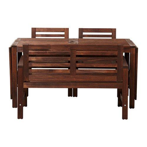 IKEA(イケア):APPLAROテーブル+チェアアームレスト付き2+ベンチ 屋外用