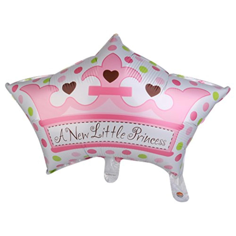 【ノーブランド品】ベビーシャワー 洗礼式用 ルミニウムフィルム製 バルーン 装飾 クラウン型 王冠型 女の子用