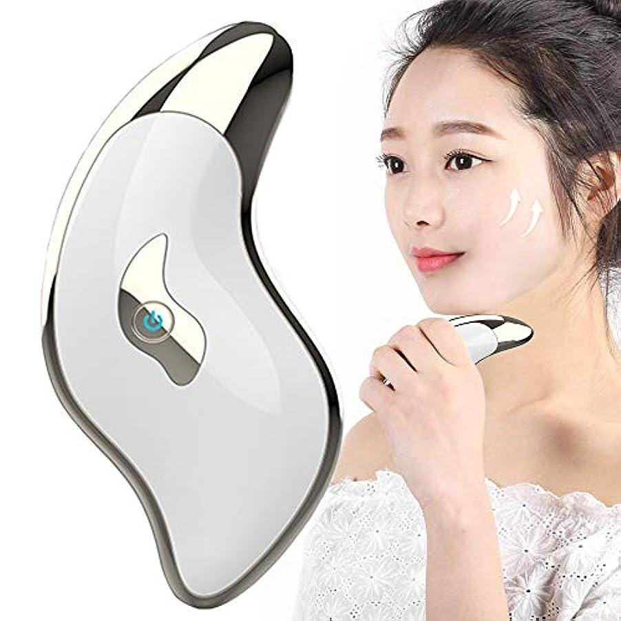 中央直径ガラスかっさプレート EMS振動 グッズ リフトアップ クリーム 刮痧 イオン導入 美顔器 マッサージャー USB充電式 ほうれい線 消す しわ除去 経穴刺激 浮腫改善 排毒 血行促進 1タッチ2モード 携帯便利 男女兼用