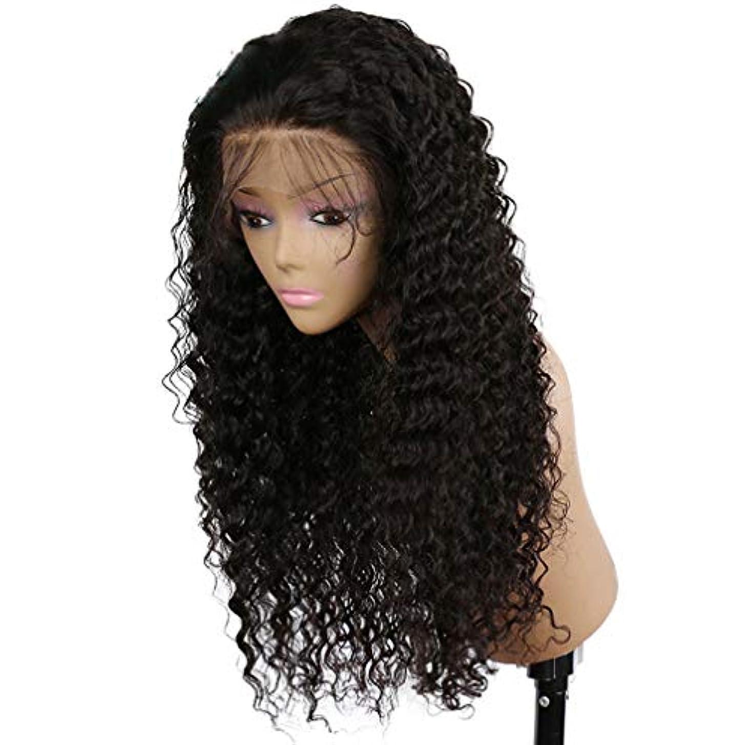 提供された失うく女性かつらレース前頭=ブラジルの深い波髪かつらレースフロント人間の髪かつらベビー髪ショートレミー150%密度