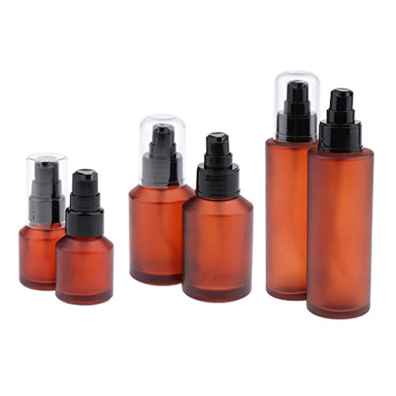 既に洞察力洋服ポンプボトル 容器 空 詰め替え式 ガラス瓶 ローションポンプボトル 琥珀色 詰め替え可能 漏れ防止