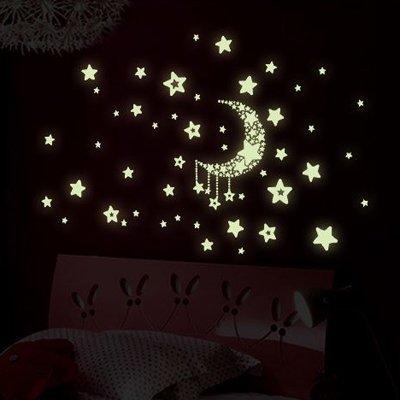 ウォールステッカー 蓄光 光るシール 月 星 夜の空 Y0015