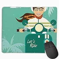 【亀田製造】マウスパッド おしゃれ印刷プリント 薄型 携帯 滑らかパッド バイクに乗った女の子 裏滑り止めパッド ずれない