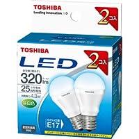 東芝 E-CORE(イー・コア) LED電球 ミニクリプトン形 4.3W (密閉器具対応・フィンレス構造・口金直径17mm・小型電球25W相当・320ルーメン・昼白色)【2個セット】 LDA4N-E17-2P