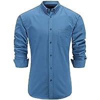 KateSui Men's 100% Cotton Slim Fit Long Sleeve Button-Down Oxford Dress Shirt
