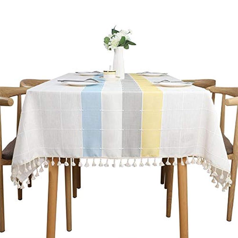 マッシュハリウッド草ステッチタッセルテーブルクロスヘビー級コットンリネン生地防塵テーブルカバーキッチンダイニング卓上装飾