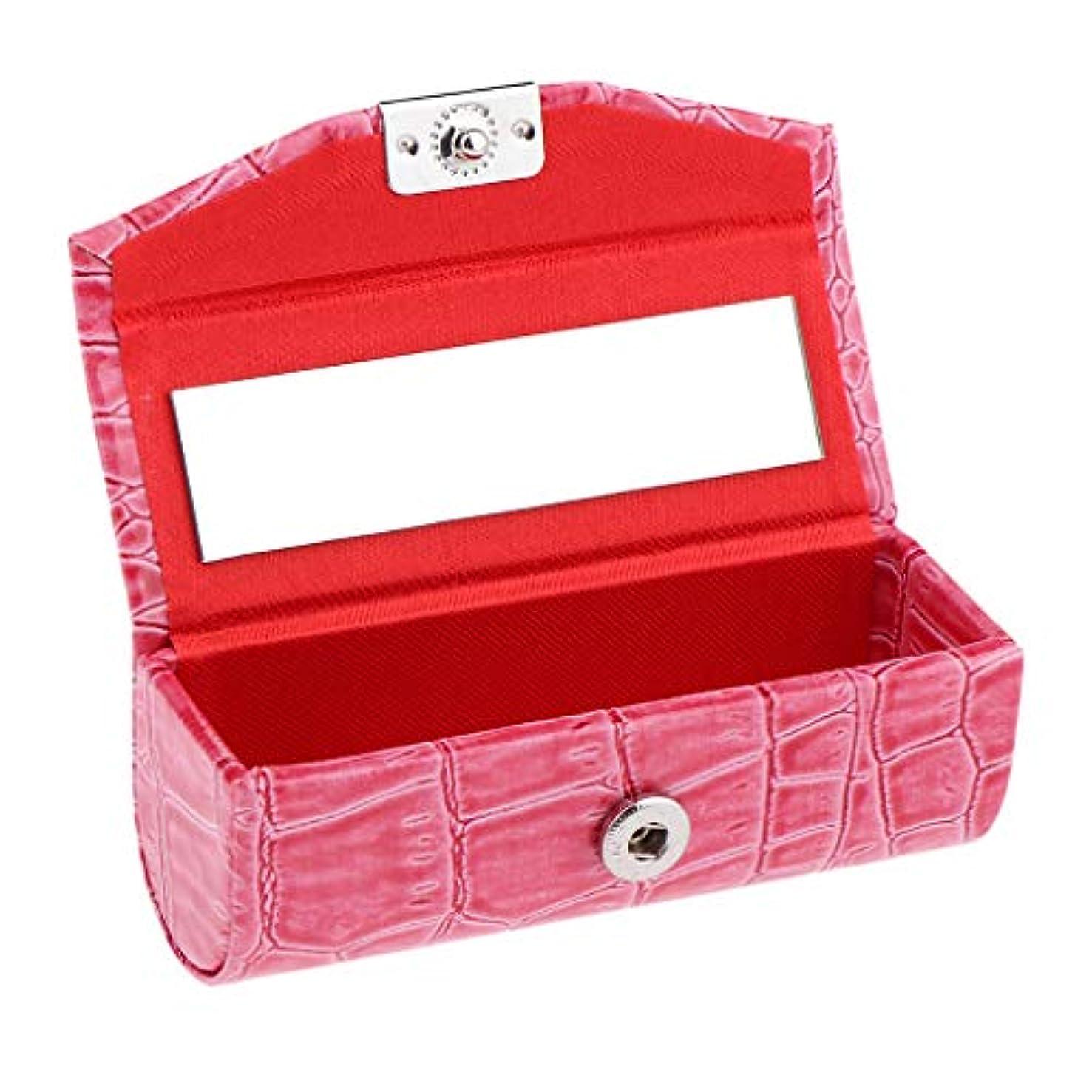 少ないコンプライアンス感謝IPOTCH レザー リップスティックケース 口紅ホルダー ミラー 収納ボックス 多色選べ - ローズレッド