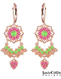 Lucia Costin Chandelier Earrings Made of 24K Pink Gold over .925 Sterling Silver with Light Green and Pink Swarovski...