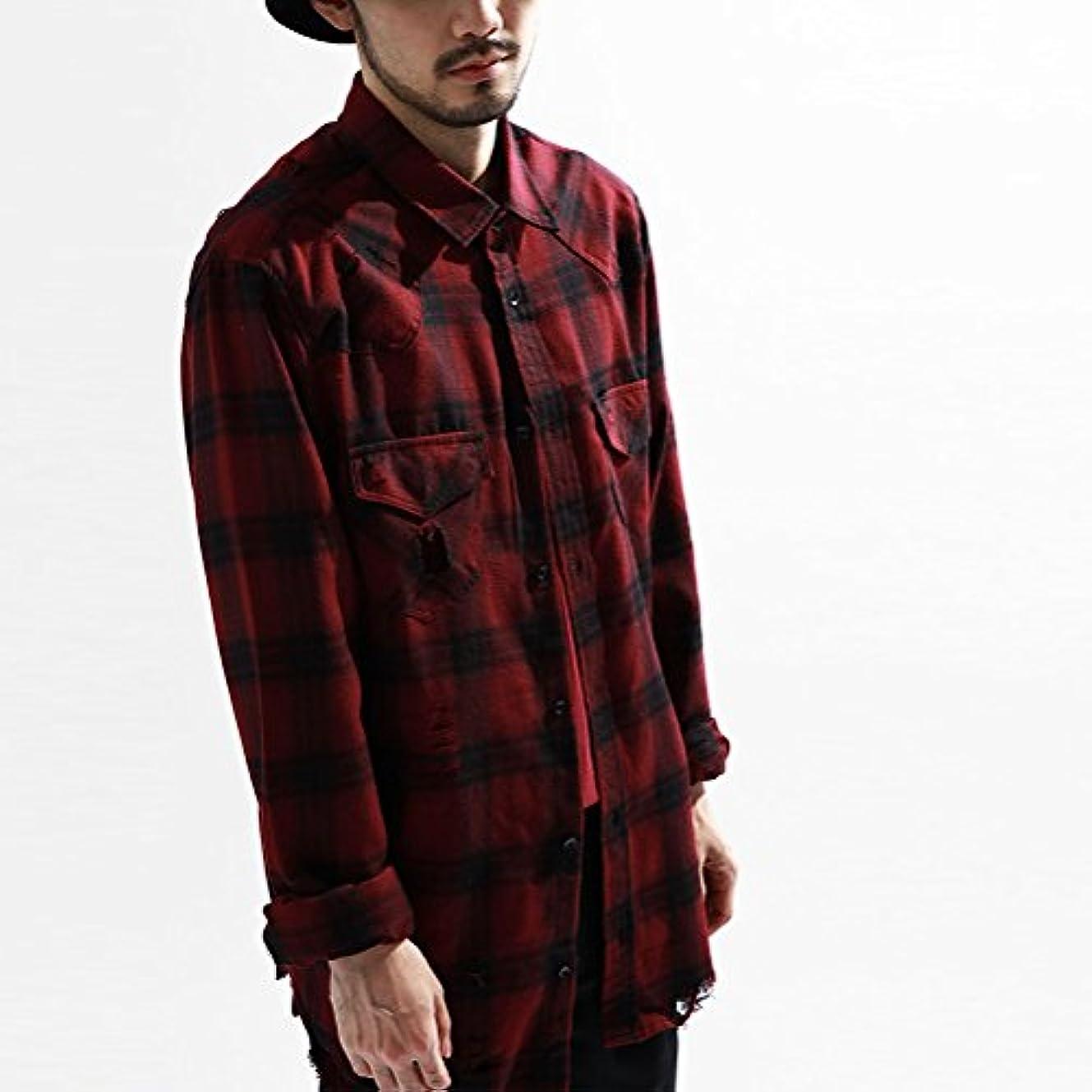 テクトニック港キリンFEIDA メンズ シャツ ギンガムチェック 長袖 シンプル 個性 無地 カジュアル 男性用シャツ (M, 赤い)