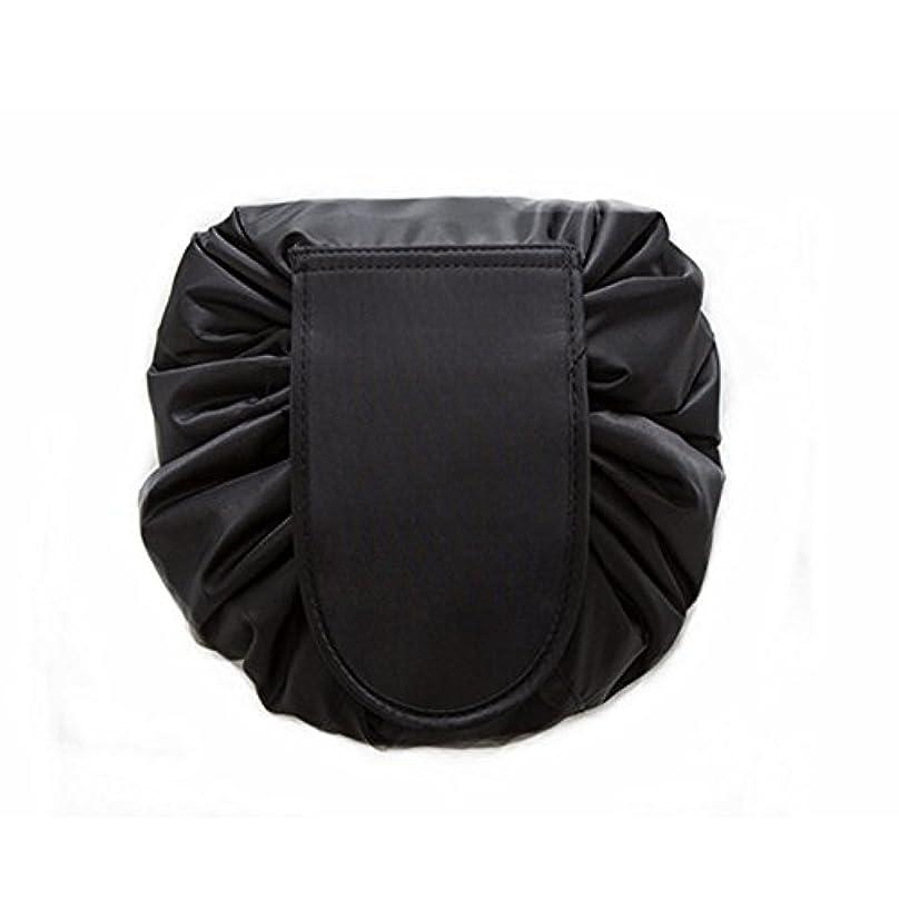 対話視線天窓大容量 レイジーメイクアップトイレタリーバッグ 引きひも ポータブル 旅行 カジュアル 防水 クイック 魔法 化粧品収納バッグ 女性にぴったり (ブラック)