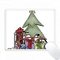 かわいい国のクリスマスツリープレゼントイラスト PC Mouse Pad パソコン マウスパッド
