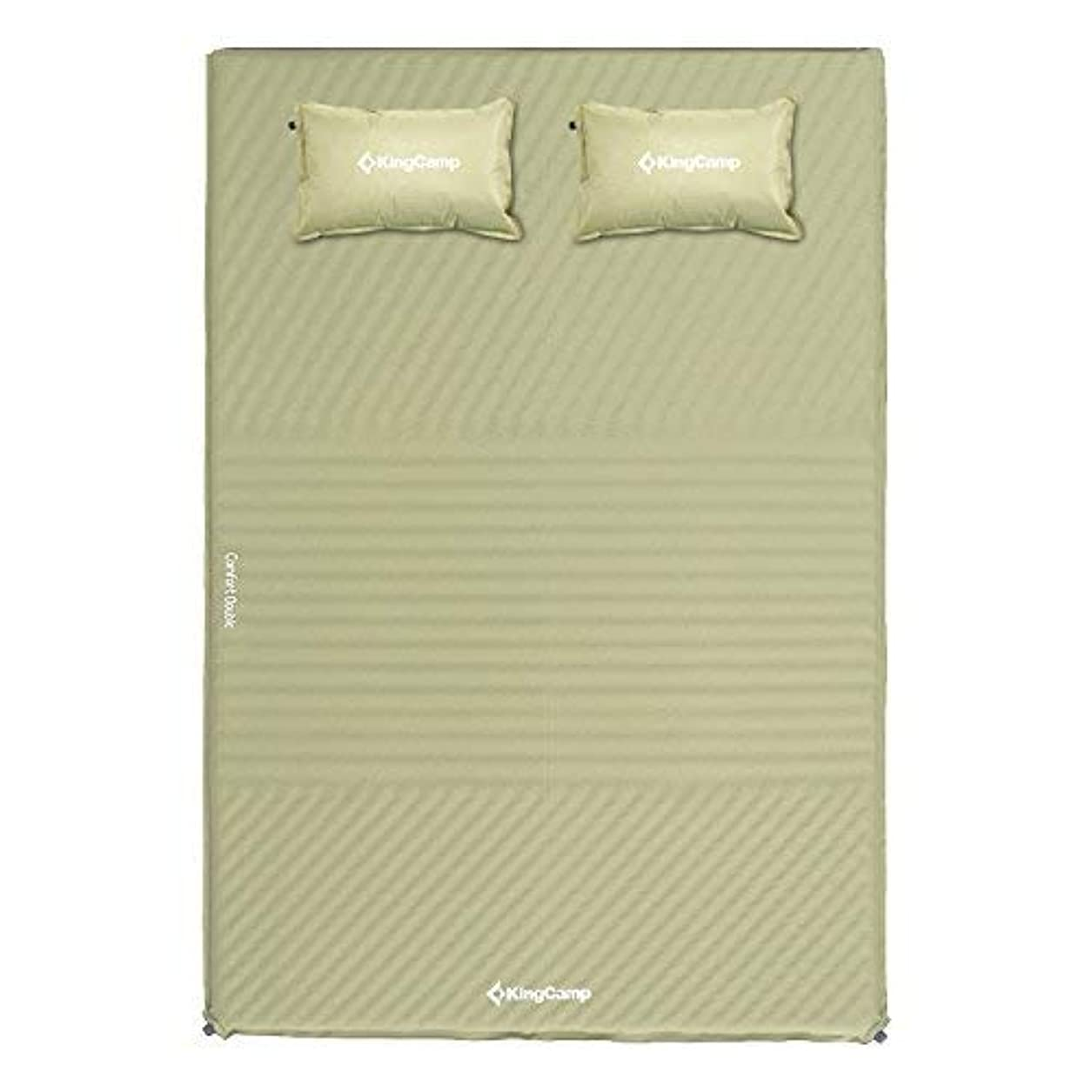 海藻落花生インドKingCamp Triple Zone Comfort Double Self Inflating 75D Micro Brushed Sleeping Pad Mattress with 2 Pillows (Beige) [並行輸入品]