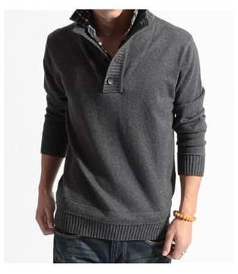 男性用 メンズ チェック襟 セーター カーディガン スタイリッシュ  ニット 53