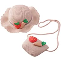 Toyvian Baby Girl Straw Hat Set Decorative Adorable Handmade Woven 3D Carrot Sun Cap Shoulder Bag Kit for Spring Travel Cosplay Party Pink