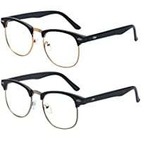 Outray 2 Pack Reading Glasses Vintage Retro Horn Rimmed Half Frame Style for Men and Women