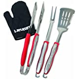 Cuisinart CGS-134 Grilling Tool Set with Grill Glove, Red (3-Piece)