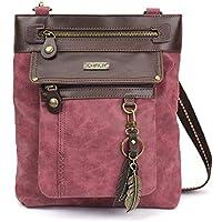 Chala GEMINI Crossbody PU Leather Messenger Bag Burgundy