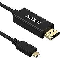 USB-C TO 4K 30HZ HDMI、アンゴノUCTH020 USB3.1 タイプ-Cとサンダーボルト 3との互換性6FT HDMIブラックハウジングハウジングケーブル、サイプレス 内蔵式チップセット、4Kx2K @ 30HZ HDMIケーブル ,Chromebookの場合、Galaxy S8 / S8 +以上のタイプ-Cデバイスは、2017MacBookプロ、MacBook、2017 iMacと互換性があります