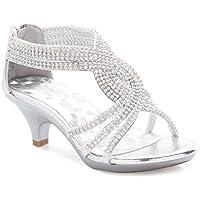 Olivia K Girls' Kids Open Toe Strappy Rhinestone Dress Sandal Low Heel Shoes - Wedding, Dress, Dance, Flower Girl