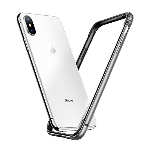 7dcb6adfe2 【Humixx】iPhoneX ケース, iPhoneXバンパー アルミとシリコン ストラップあり シンプル 銀(