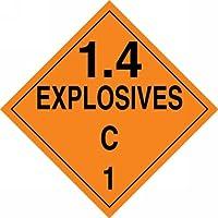 Accuform Signs MPL128CT50 PF-Cardstock Hazard Class 1/Division 4C DOT Placard Legend 1.4 EXPLOSIVES C 1 10-3/4 Width x 10-3/4 Length Black on Orange (Pack of 50) [並行輸入品]