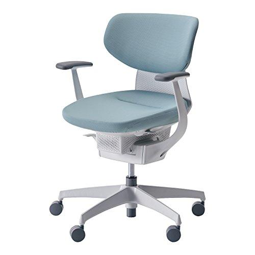 コクヨ オフィスチェア イング CR-GW3201E1G439-V ラテラルタイプ ホワイトシェル T型肘 樹脂脚ホワイト 布アッシュターコイズ