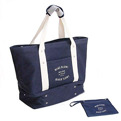 Flinellife 多機能旅行バッグ シューズ収納 特大サイズトートバッグ 大容量 ショルダー マザーズバッグ 軽量 防水 スポーツトートバッグ ブルー