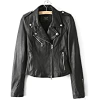 LJYH Women's Zipper Motorcycle Biker Faux Leather Jackets