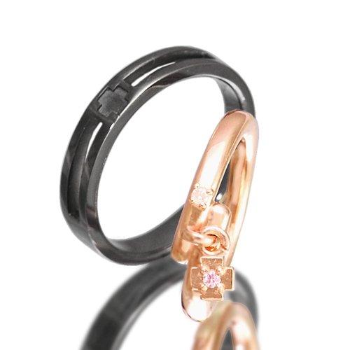 クロスペアリング/Ti Amo 十字架 ダイヤモンド 指輪 2個セット pair ring 【メンズブラックタイプ23号】【レディースピンクゴールドタイプ・ホワイトチャーム19号】