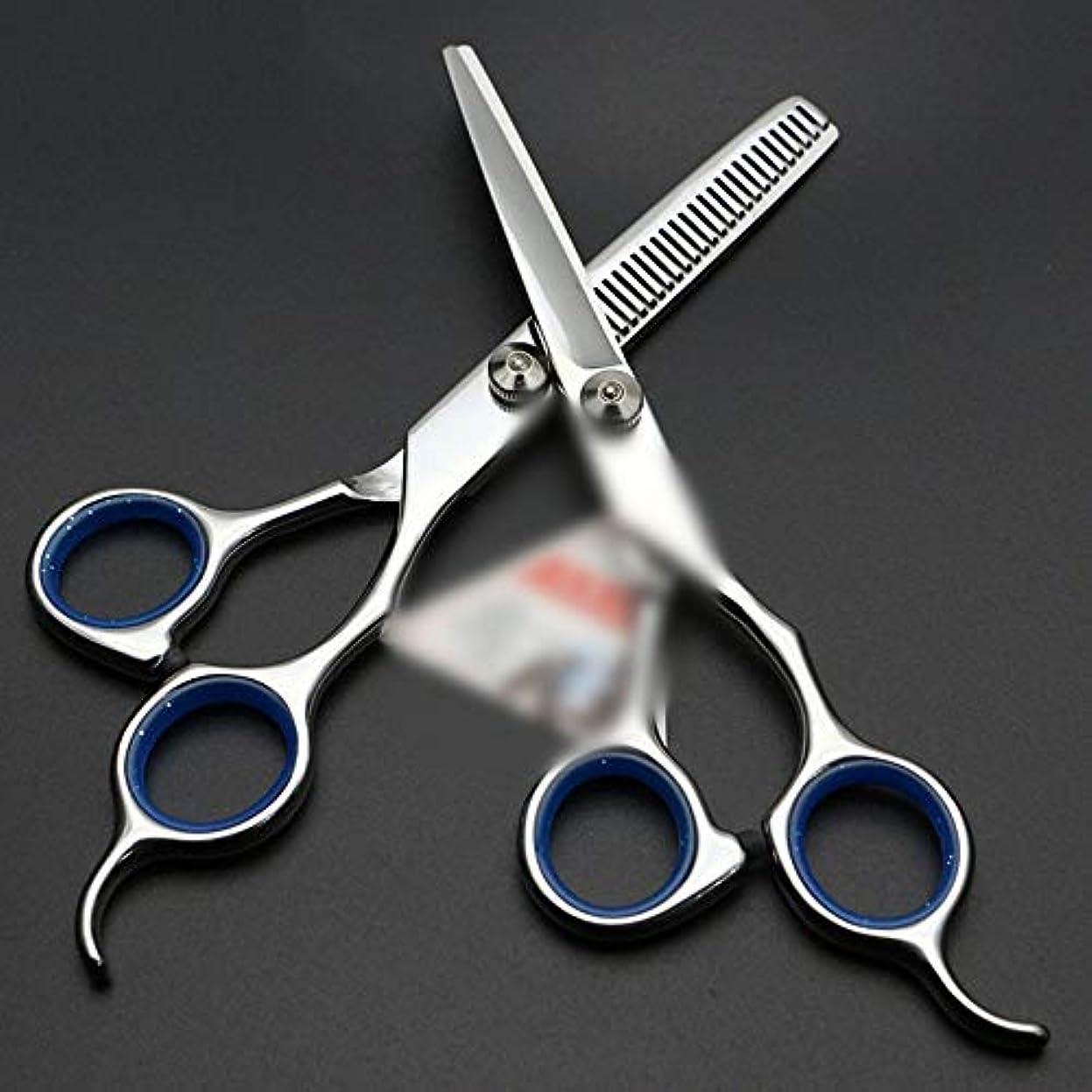ポケットパス以下6インチ美容院プロフェッショナル理髪はさみセット ヘアケア (色 : 青)
