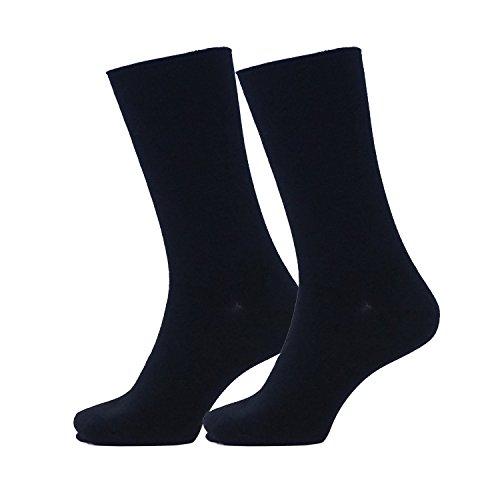 介護 福祉士考案!くちゴムなしのしめつけない 靴下(紳士・ロング/ショート丈)同色2足セット (ロング, 黒)