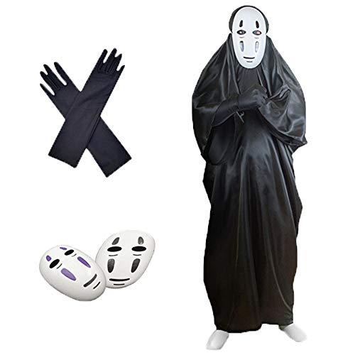 YUKIH ユキホーム カオナシ 千と千尋の神隠し コスプレ (衣装、黒マスク、紫マスク、手袋) 4点セット フリーサイズ 男女共用 プレゼント