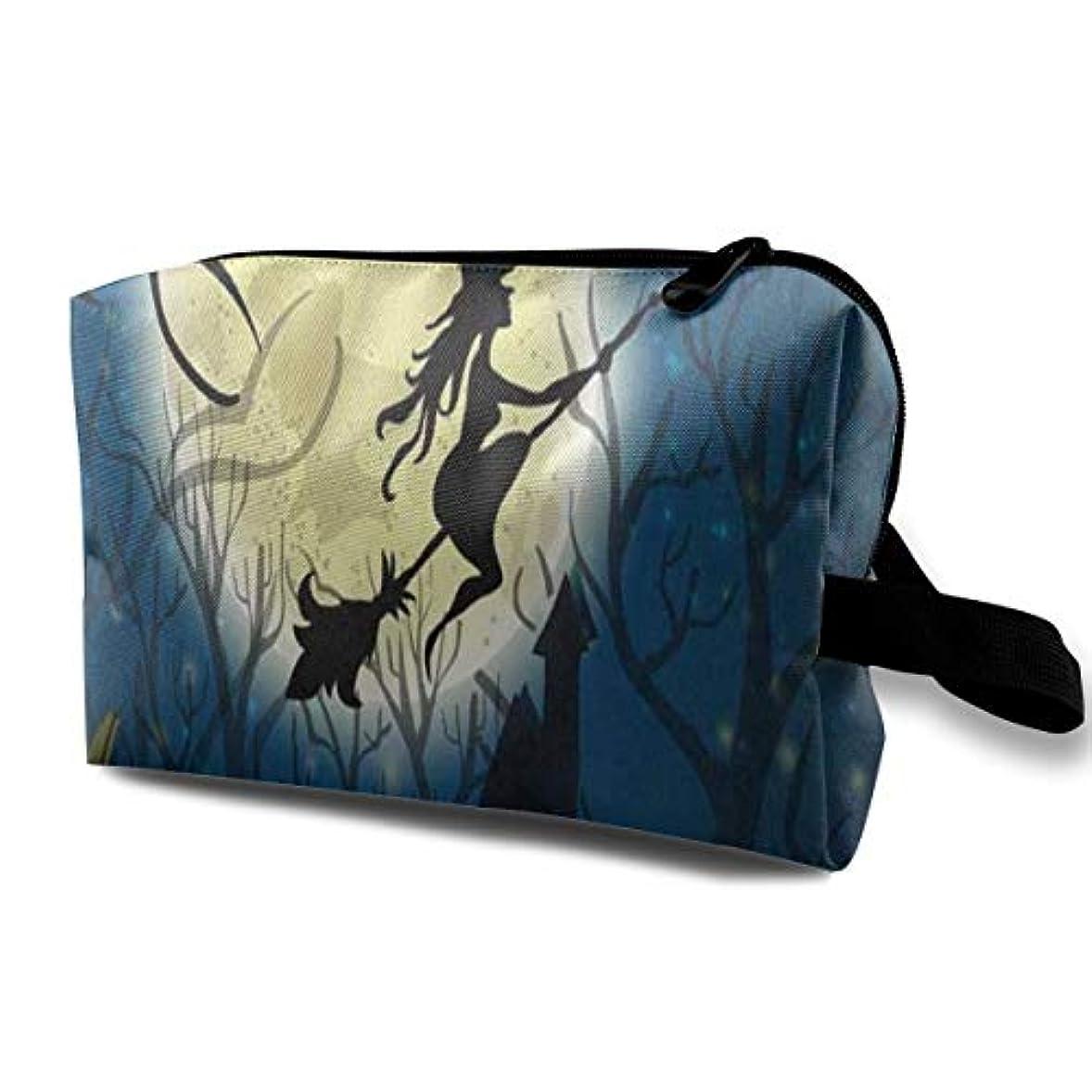 魔女の月パンプキンハロウィン ポーチ 旅行 化粧ポーチ 防水 収納ポーチ コスメポーチ 軽量 トラベルポーチ25cm×16cm×12cm