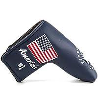 FLTRADEゴルフパタークラブヘッドカバーヘッドカバーペブルビーチアメリカの国旗すべてのブランド用ブレード刺繍スコッティキャメロンPing TaylormadeオデッセイコブラPing Mizuno、赤、紺または白
