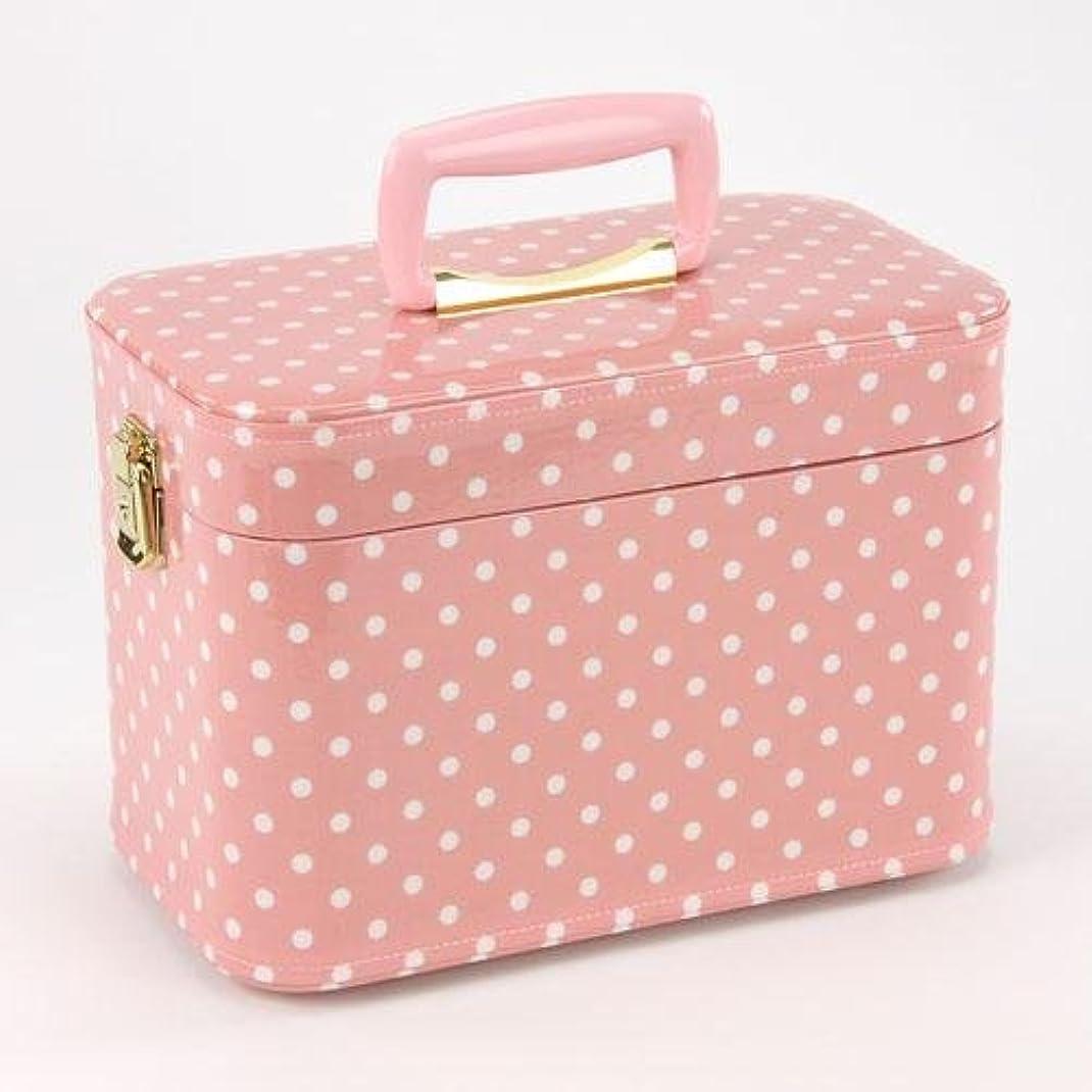 歌土地イタリアの日本製 メイクボックス 水玉(ドット) ピンク 30cm(鍵付き/コスメボックス)