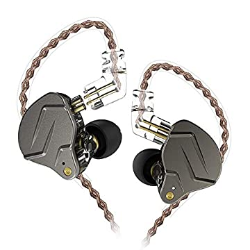 KZ ZSN Pro 重低音 イヤホン 1BA+1DDを搭載 ハイブリッドイヤホン カナル型 高遮音性 イヤホン 高音質 中華イヤホン 2pin リケーブル 可能 ジュラルミンフェイスプレート搭載 3.5mm プラグ (ZSN Pro銀‐灰・マイクなし)