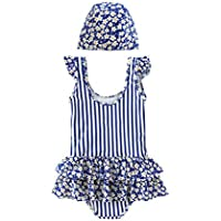 Comfortable Girls Swimwear Suit Summer Dress New Foreign Girl One-Piece Swimsuit Lace Skirt Thin Swimsuit Smooth (Color : Blue, Size : 170cm)