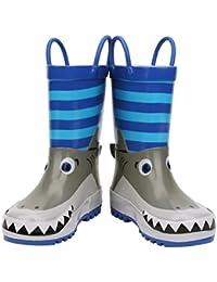[KushyShoo] レインブーツ ハンドル?収納袋付き 雨靴 長靴 女の子 男の子 男女兼用 キッズ 雨雪対策 アウトドア 通園?通学用 13~22cm