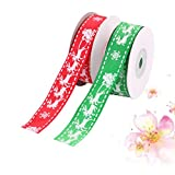 HEALLILY 2 Rolls Christmas Ribbons for Crafts Christmas Ribbon Printed Elk Merry Christmas Elk Pattern,Holiday Decor, Party Decoration, Gift Bows, Presents, Gift Basket, Wreath, SwagシGreen and Redシ