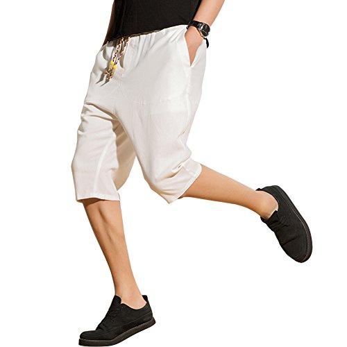 ハーフパンツ メンズ 大きいサイズ サルエルパンツ 大きめ ズボン 七分丈 ショートパンツ ゆったり ワイドパンツ 調整紐 スウエット カジュアル オシャレ 麻 白