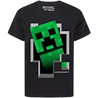 Vanilla Underground Minecraft Creeper Inside Boy's Black T-Shirt (5-6 Years)