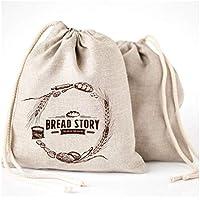 自然リネンBreadバッグ – 2 - Pack Large 11 x15で( 30 cm x 40 cm Ideal for homemade bread、再利用可能な食品ストレージ、新築祝い、ウェディングギフト、ストレージアーティザンBread – Bakery & Baguette Bag