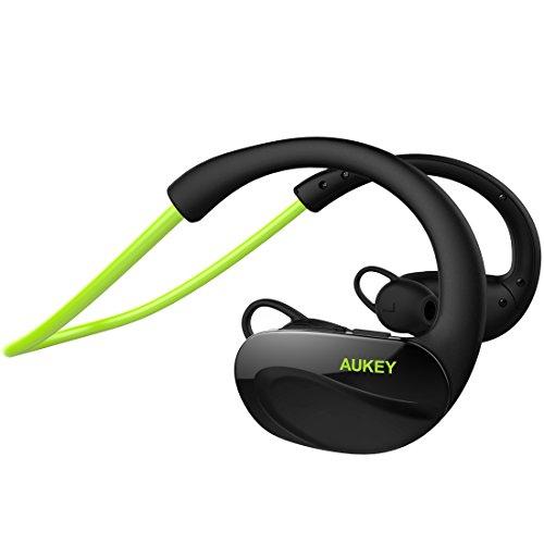 AUKEY Bluetooth ヘッドセット ワイヤレススポーツイヤホン 耳掛け式 8時間連続再生 iPhone 7,7 Plus,iPhone 6S,6S Plus,Sony,Android スマートフォンなど対応 (グリーン) EP-B34