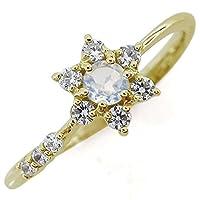 プレジュール 結婚記念日 ロイヤルブルームーンストーンリング 結婚10周年 流れ星 K18イエローゴールド 指輪 リングサイズ9号